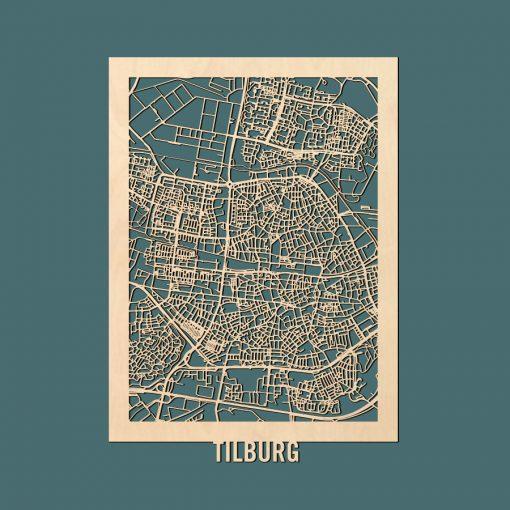 Tilburg Citymap 50x70cm Berken Render