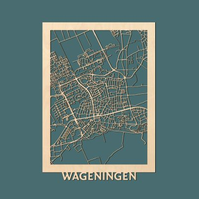 Wageningen Citymap 50x70cm Berken Render