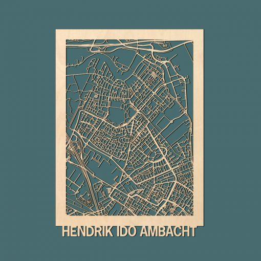 Hendrik Ido Ambacht Citymap 50x70cm Berken Render